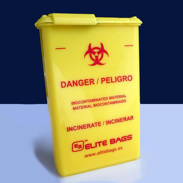 Contenedor de material biocontaminado de bolsillo, Pocket-sized Biocontaminated Material Container, Conteneur de Poche de Matériel Bio-Contaminé, Taschenbehälter für biokontamiertes material