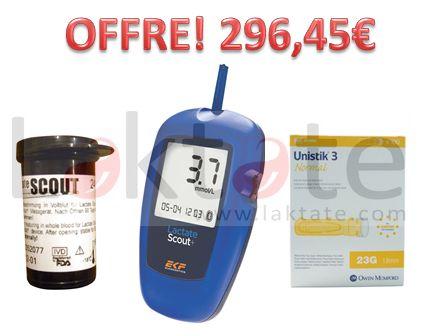 Offre Analyseur Lactate Scout+ Solo, 24 Bandes Réactives et Lancettes Unistik
